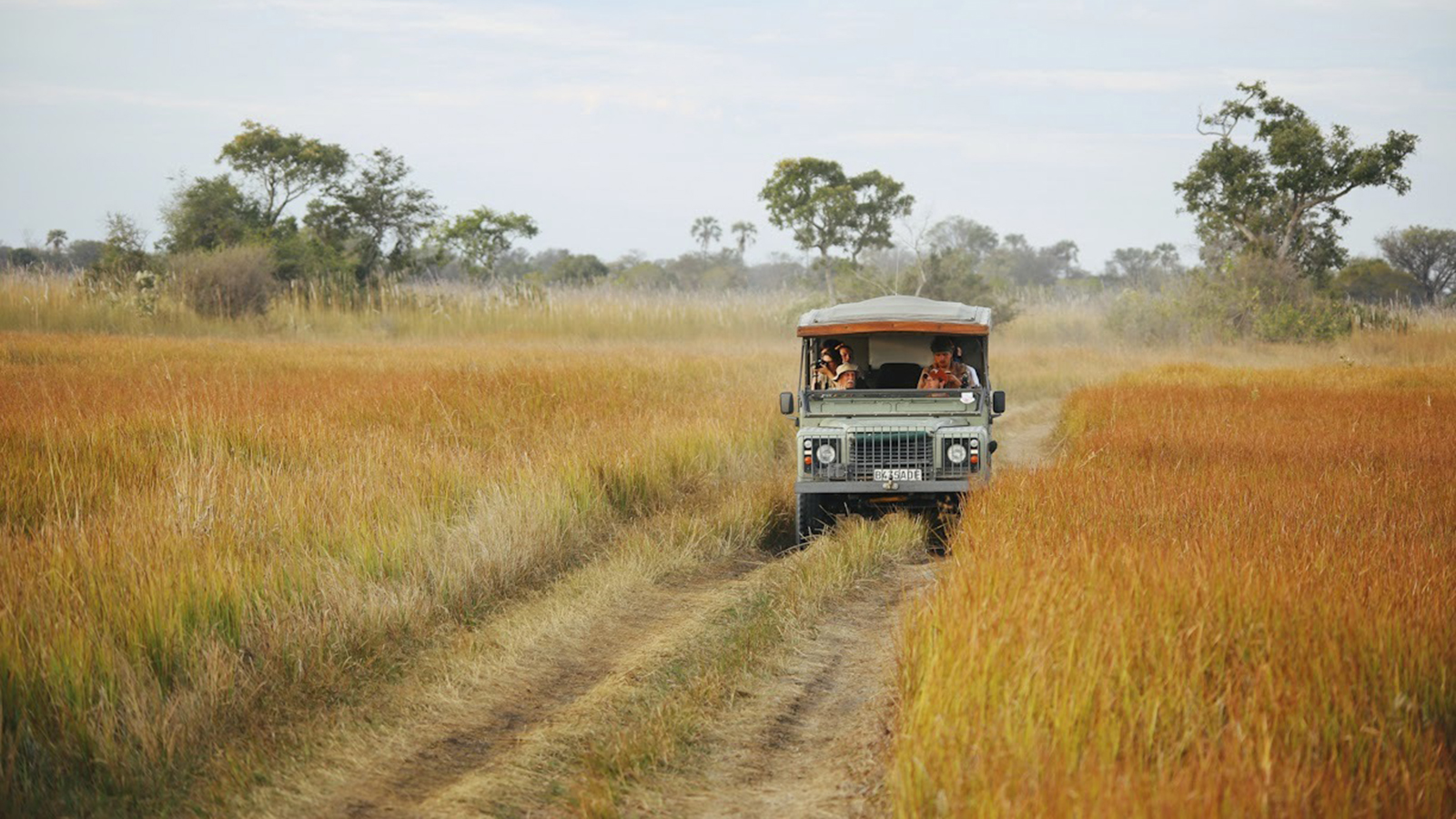 Jeep driving through African Savannah