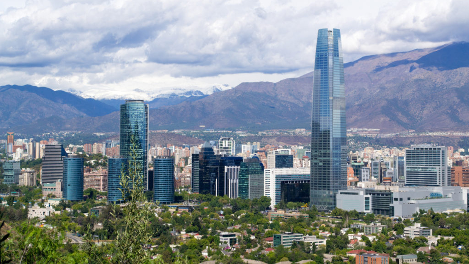Cityscape of Santiago, Chile with mountains in the background
