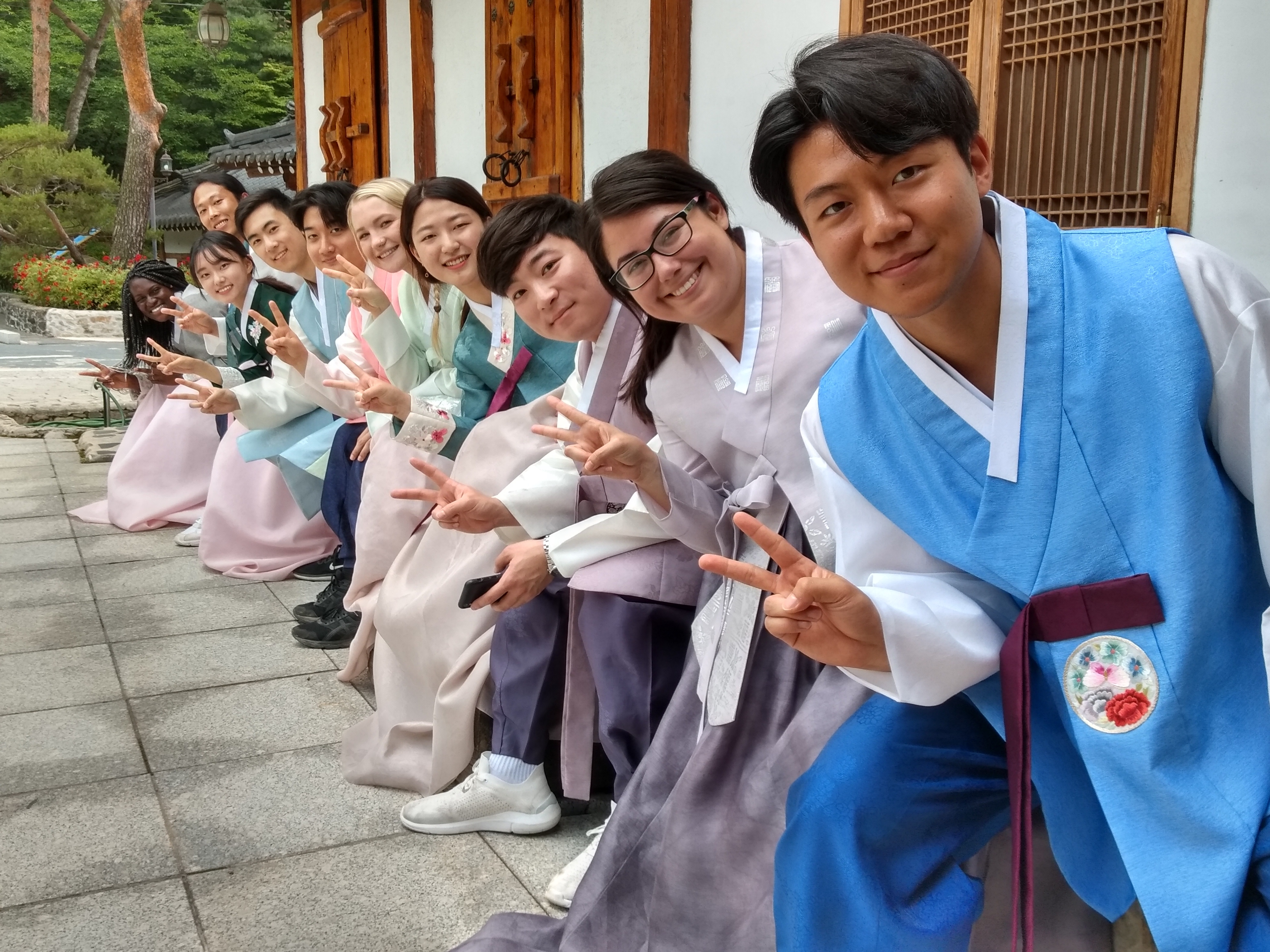 students in korean traditional dress
